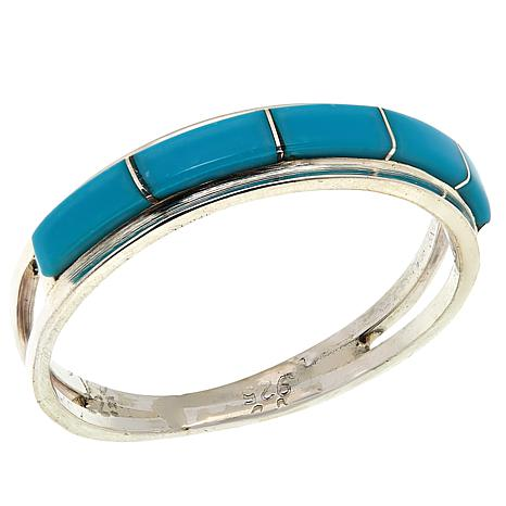 Chaco Canyon Zuni Sleeping Beauty Turquoise Eternity Band Ring