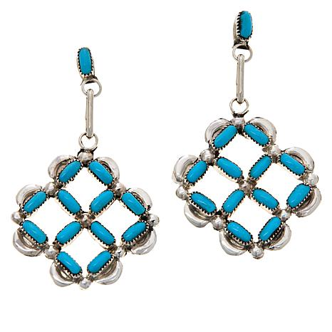 Chaco Canyon Zuni Sterling Silver Turquoise Geometric Drop Earrings