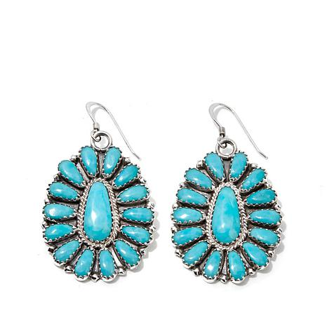 6f561b44f Chaco Canyon Zuni Turquoise Cluster Drop Sterling Silver Earrings ...