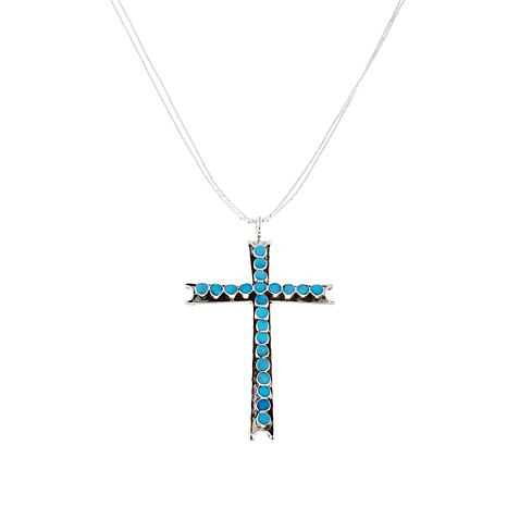 Chaco canyon zuni sleeping beauty turquoise cross pendant with 18 chaco canyon zuni sleeping beauty turquoise cross pendant with 18 liquid silver necklace aloadofball