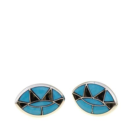 Chaco Canyon Zuni Turquoise Marquise Earrings