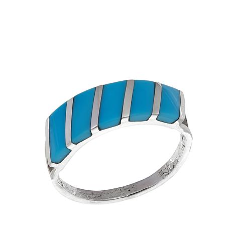 Chaco Canyon Zuni Turquoise Slant Inlay Sterling Silver Ring