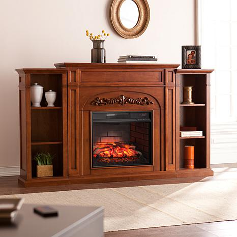 Chantilly Bookcase Infrared Electric Fireplace - Oak