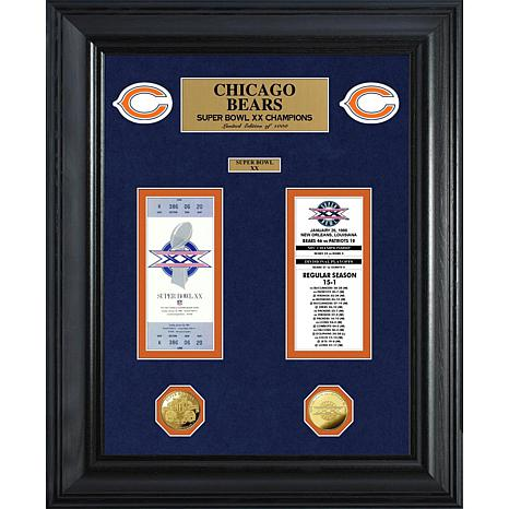 Chicago Bears Framed Super Bowl Ticket and Coin