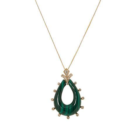 """Cirari 14K Gold Malachite and Diamond Pendant with 18"""" Chain"""