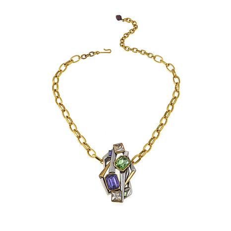 """CLB NYC """"Concrete Jungle"""" Colored Crystal 16-1/2"""" Necklace"""