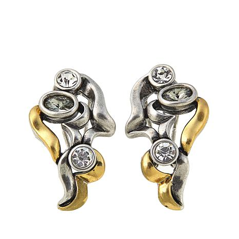 """CLB NYC """"Wind"""" Goldtone and Silvertone Abstract Stud Earrings"""