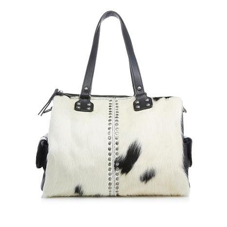 Clever Carriage Aspen Cow Hair Studded Satchel
