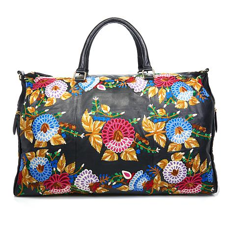Clever Carriage Rose Garden Leather Weekender
