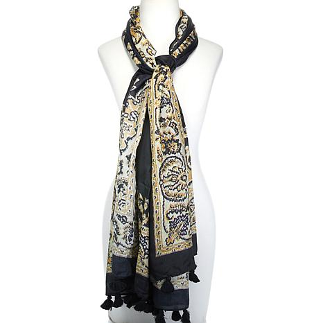 Clever Carriage Silk Carpet Print Scarf