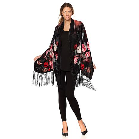 Clever Carriage Velvet Floral Print Scarf