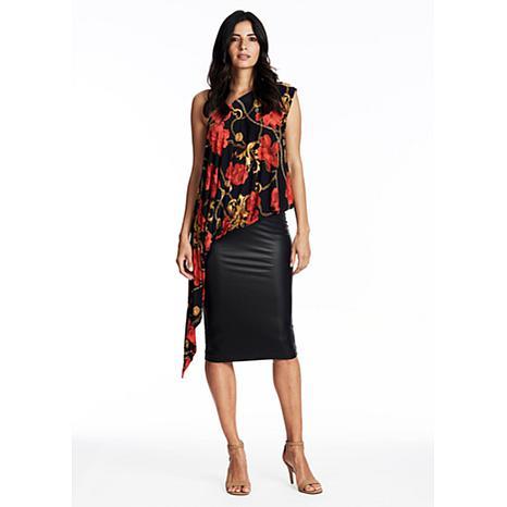 Coldesina Liquid Leather Pencil Skirt in Black