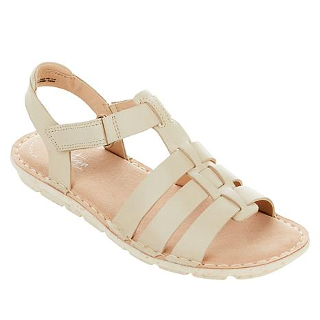CLARKS Gold Silver Leather T Strap Thong Sandals 7