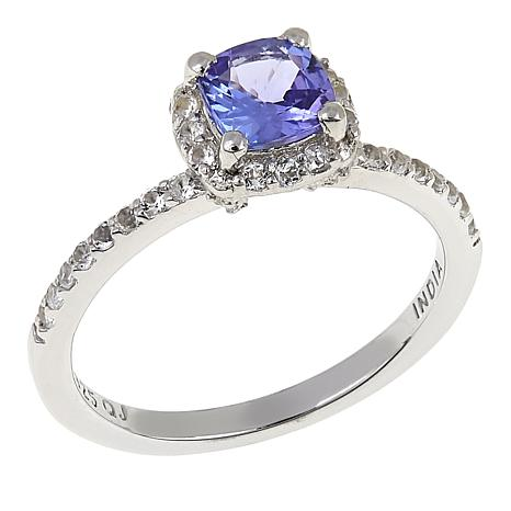Colleen Lopez 0.91ctw Cushion-Cut Tanzanite and White Topaz Ring