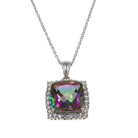 Colleen Lopez 11.09ctw Rainbow Quartz and White Topaz Pendant/Chain