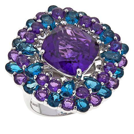 Colleen Lopez 11.32ctw Amethyst and Blue Topaz Ring