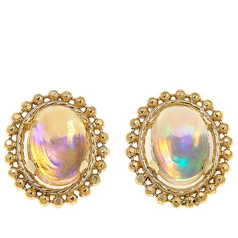 Colleen Lopez 14K Oval Ethiopian Opal Stud Earrings