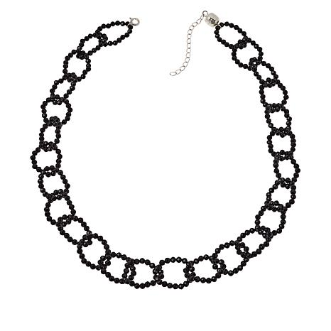 """Colleen Lopez 18"""" Black Spinel Link Necklace with Magnetic Clasp"""