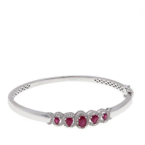 Colleen Lopez 1.92ctw Burmese Ruby & Gem Hinged Bangle