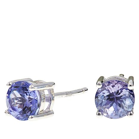 Colleen Lopez 1ctw Round Tanzanite Sterling Silver Stud Earrings