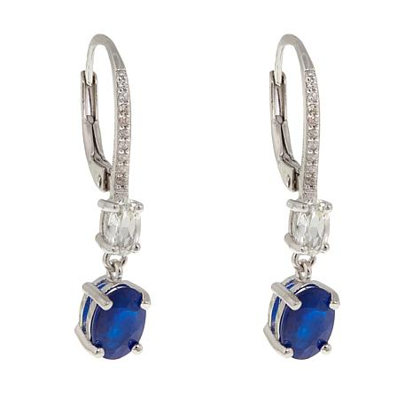 colleen lopez 2 37ctw blue spinel and white zircon drop earrings