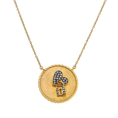 Colleen Lopez .24ctw Champagne Diamond Heart and Lock Necklace