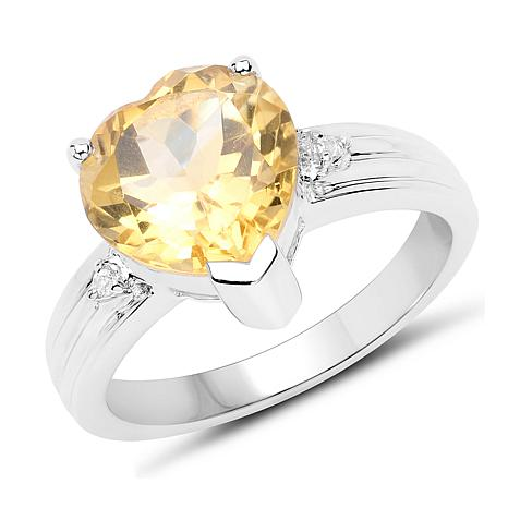 Colleen Lopez 2.6ctw Heart Citrine and White Topaz Ring
