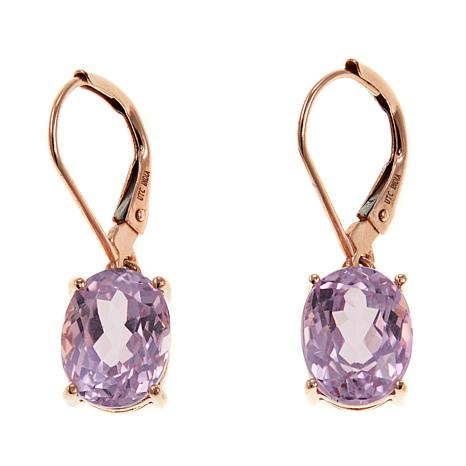 Colleen Lopez 4 9ctw Kunzite 10k Gold Drop Earrings