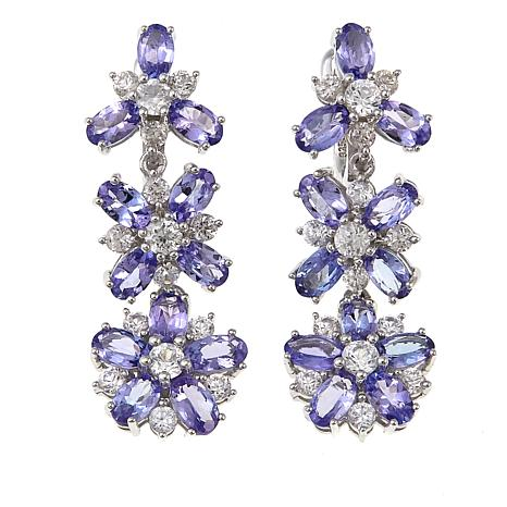 Colleen Lopez 7.61ctw Tanzanite and White Zircon Flower Drop Earrings