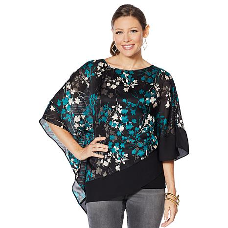 Colleen Lopez Asymmetric Printed Overlay Blouse