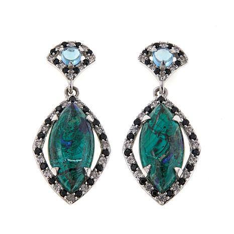Colleen Lopez Azurite and Multigemstone Sterling Silver Drop Earrings