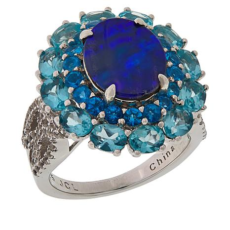 Colleen Lopez Blue Opal Doublet and Blue Apatite Ring
