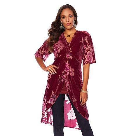 Colleen Lopez Burnout Velvet Tunic Top with Cami