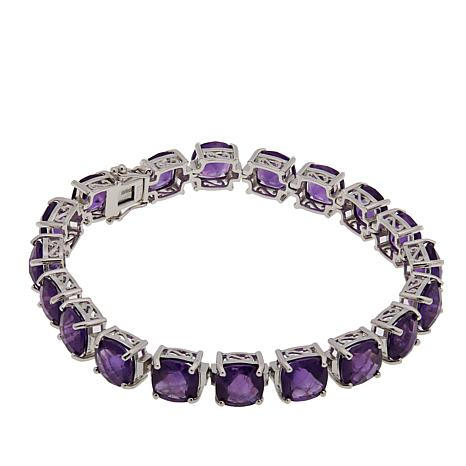 Colleen Lopez Cushion-Cut African Amethyst Line Bracelet