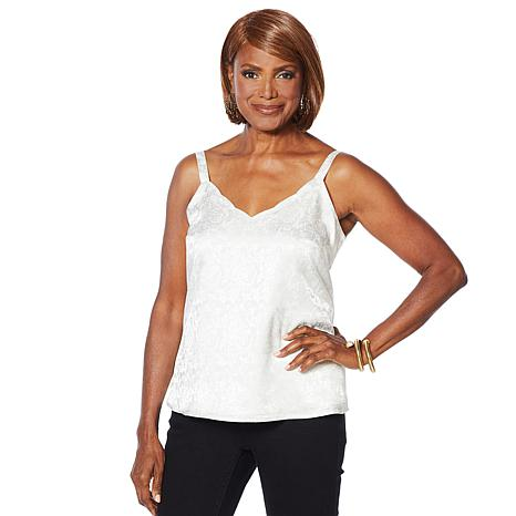 Colleen Lopez Embossed Tank with Scalloped Neckline