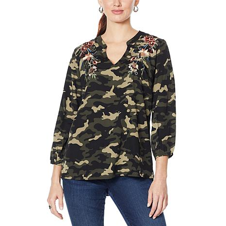 Colleen Lopez Embroidered Camo Top