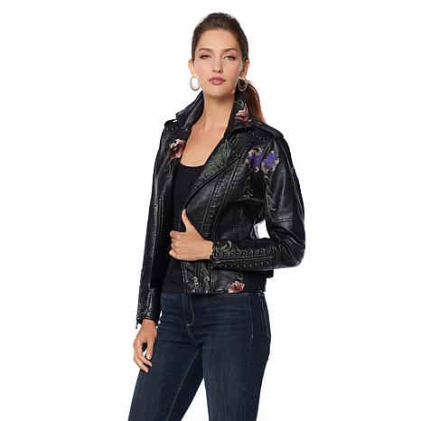 Colleen Lopez Embroidered Faux Leather Jacket 8453745 Hsn