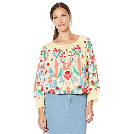 Colleen Lopez Embroidered Peasant Blouse
