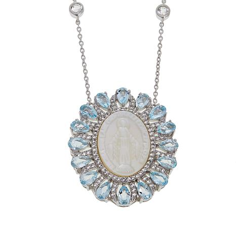 """Colleen Lopez Gemstone and Mother-of-Pearl Virgin Mary 18"""" Necklace"""