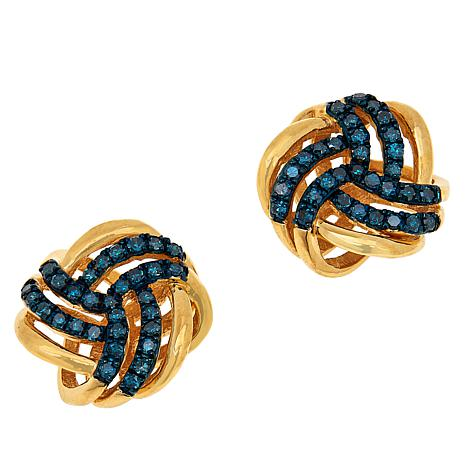 Colleen Lopez Gold-Plated .49ctw Colored Diamond Love Knot Earrings