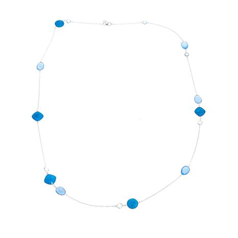 """Colleen Lopez Howlite, Blue Chalcedony and Blue Topaz 36"""" Necklace"""