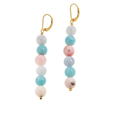 Colleen Lopez Jade, Pink Opal and Amazonite Bead Earrings