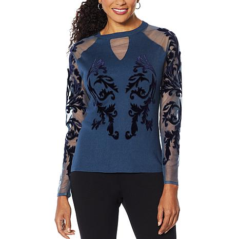 Colleen Lopez Mesh and Velvet Flocked Pullover Sweater