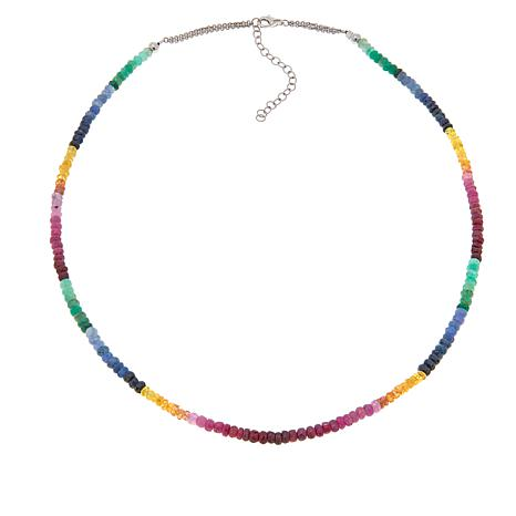 Colleen Lopez Multi Sapphire, Emerald and Ruby Necklace