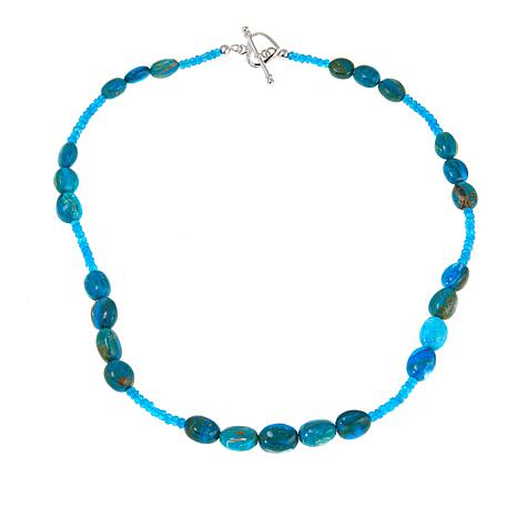 "Colleen Lopez Opalina and Neon Blue Apatite 19"" Necklace"