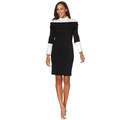 Colleen Lopez Ponte Shirt Dress with Woven Collar