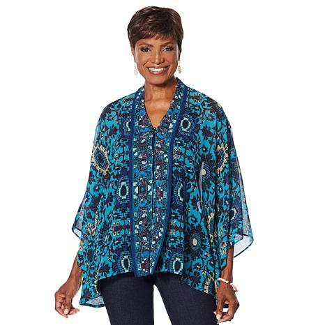 Colleen Lopez Printed Button-Front Topper
