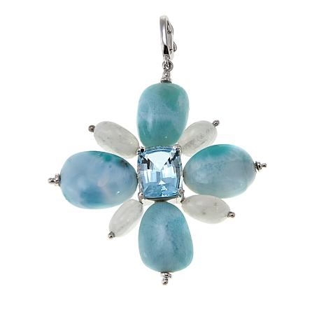 Colleen Lopez Sky Blue Topaz, Larimar and Moonstone Enhancer Pendant