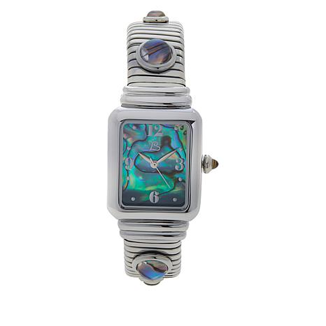 Colleen Lopez Stainless Steel Gemstone Dial Cuff Watch