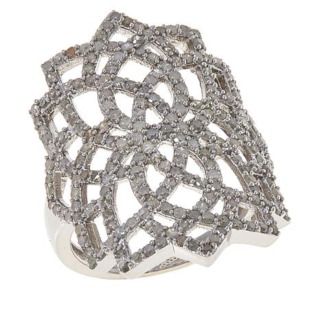 Colleen Lopez Sterling Silver 1.02ctw Diamond Ring